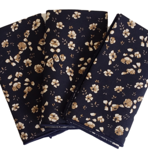 Black Pocket Square: 100% Cotton Pink Floral