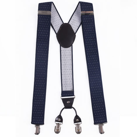 Blue Suspenders: Navy Blue Patterned