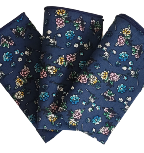 Blue Floral Pocket Square: 100% Cotton High-Quality